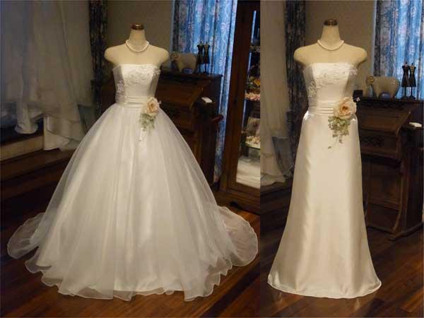 プラチナシルクで仕立てた上品なドレスに、ふんわりベルラインのオーバースカート。 胸元のレースとパール、ピンクのバラで愛らしさをプラス。 シーンに合わせて2通りの楽しみが味わえるドレスです。