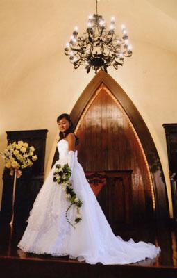 ブラウスとベアトップのトレーン付きのウェディングドレス