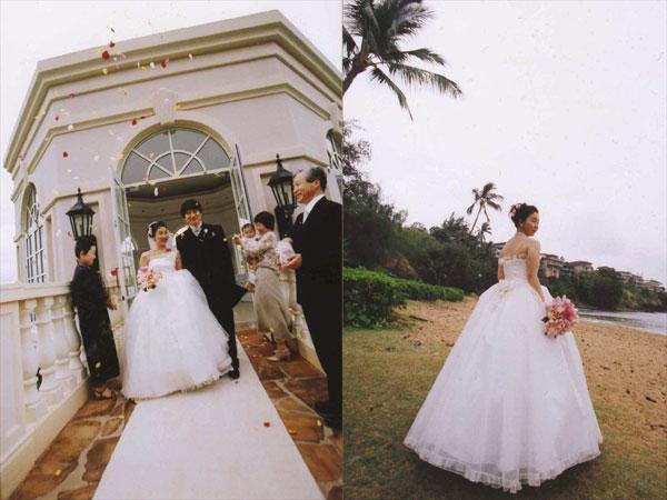 シルクオーガンジーのふわふわのプリンセスラインのウェディングドレス。