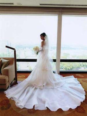 シルクサテンとシルクサテンオーガンジーのウェディングドレス