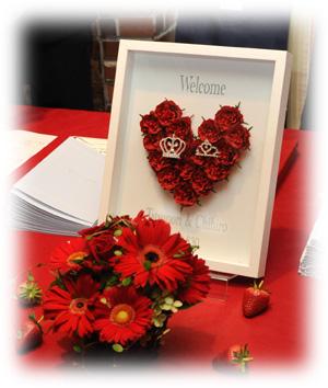 薔薇の花の美しいウェルカムボード